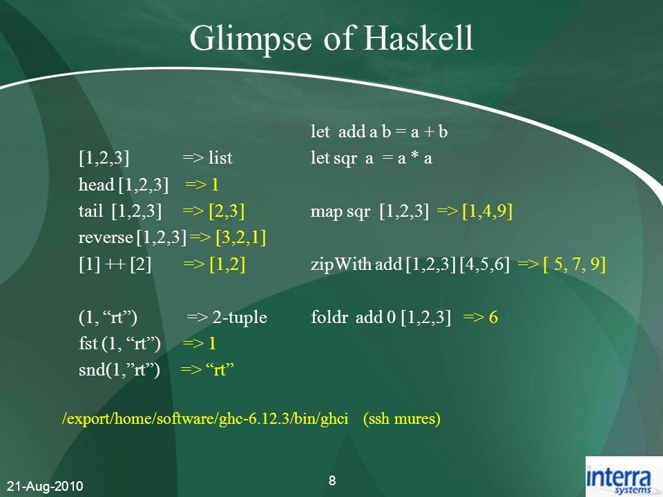 Glimpse of Haskell [1,2,3] => list head [1,2,3] => 1